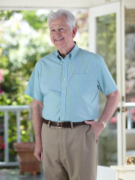 Gingham Check Short Sleeve Shirt VELCRO® brand fasteners