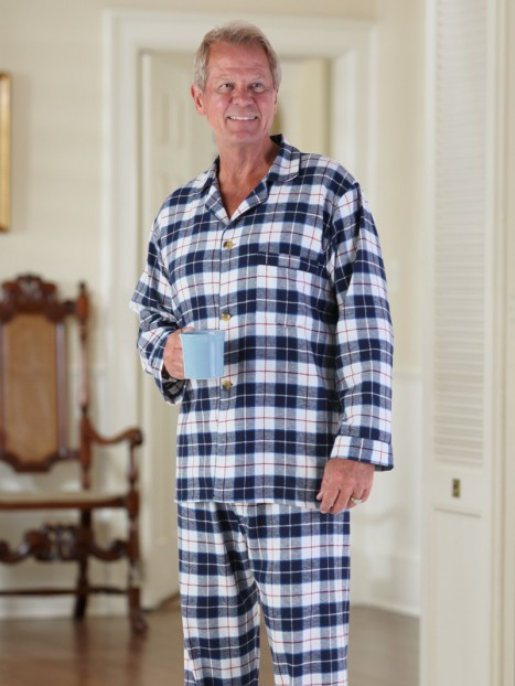 Men's Flannel Pajamas-VELCRO® Front