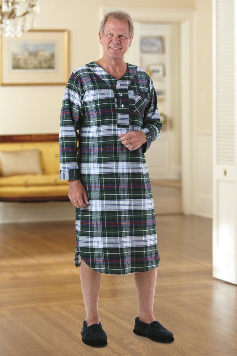Men 39 s flannel nightshirt buck buck for Womens flannel night shirts