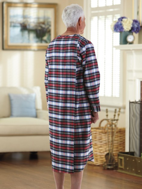 Flannel Open Back Nightshirt