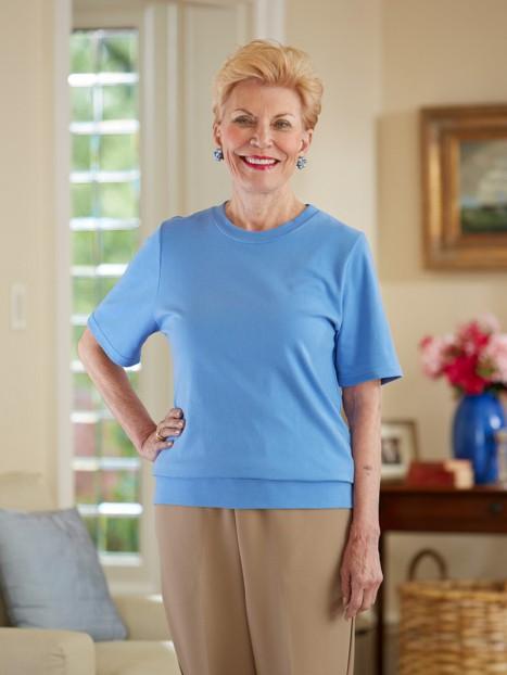Women's Short Sleeve Banded Bottom Top