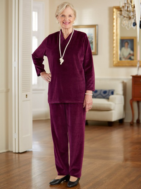 Shawl Collar Velour Pant Set, Traditional