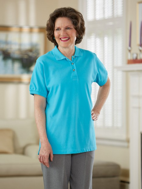 Women's Polo Shirt with Snap-Back Alteration