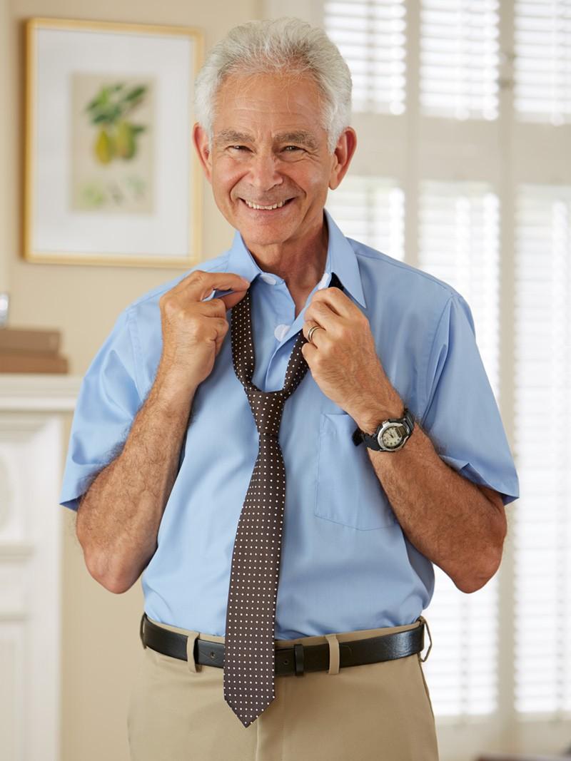 Short Sleeve Velcro Front Dress Shirt Closed Collar