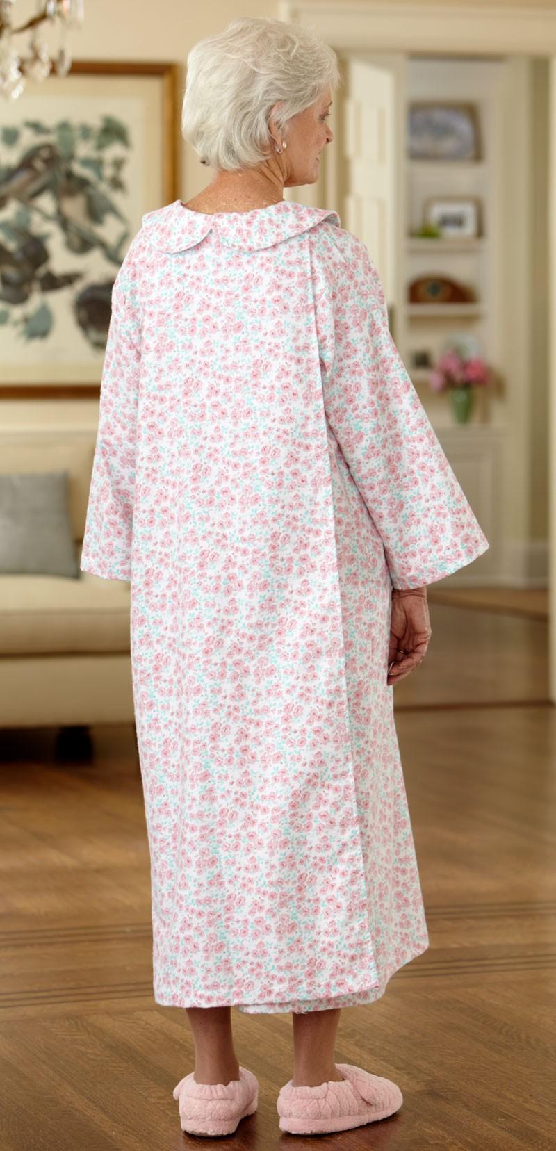Long Flannel Open Back Nightgown Buck Amp Buck