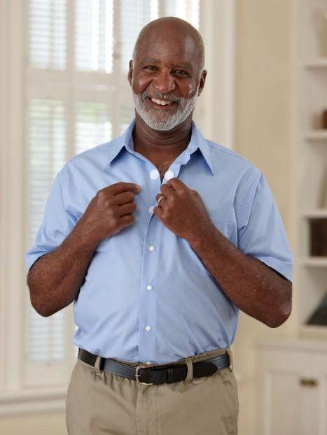 Short Sleeve Velcro Front Dress Shirt (Open Collar)