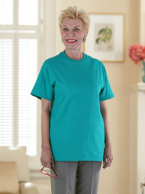 Women's Short Sleeve Solid Snap Back T-Shirt