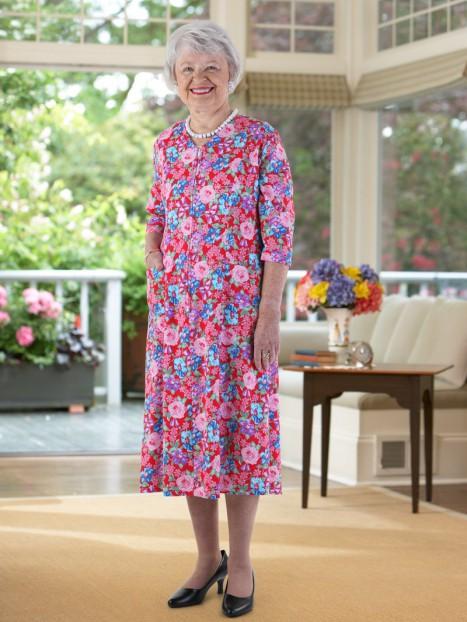 Floral Zip-Front Knit Dress
