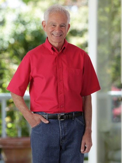 Velcro Front Twill Shirt-Short Sleeves