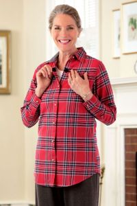 Women's Flannel Shirt - VELCRO® Brand Fasteners at Front