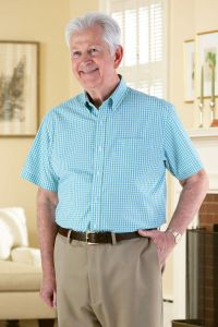 Short Sleeve Gingham Check Button Front Shirt