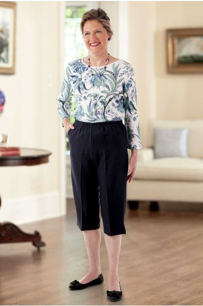 Poly Capri Pants with Pockets