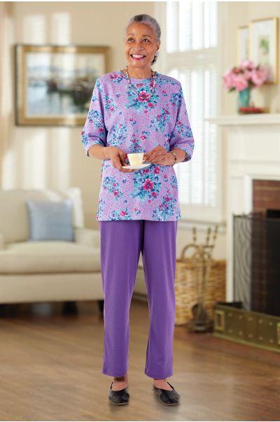 Short Sleeve Mixed Knit Set