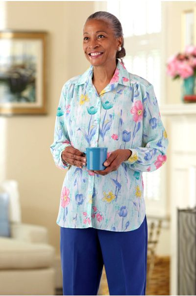 Polyester Roll Sleeve Blouse w/ VELCRO® Brand Fasteners