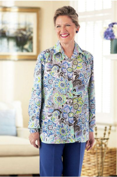 Polyester Roll Sleeve Blouse