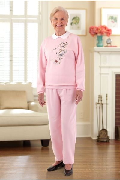 Womens Large Size Printed Sweatsuit w/Collar (2X & 3X)