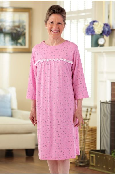 Knit Open Back Nightgown