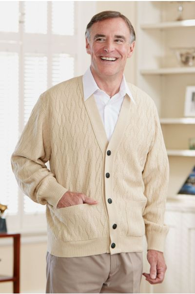 Men's Cable Cardigan w/Pockets-15% Off (2X Only)