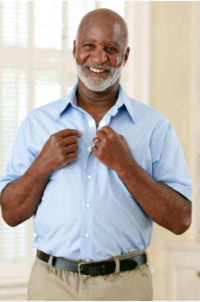 Short Sleeve Dress Shirt w/ VELCRO® Brand Fasteners (Open Collar)
