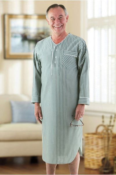 Men's Cotton/Poly Open Back Nightshirt
