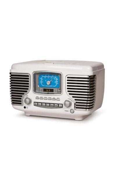 Crosley Retro AM/FM Dual Alarm Clock Radio with CD Player and Bluetooth/White