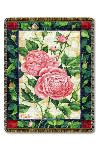 Cabbage Roses Woven Throw