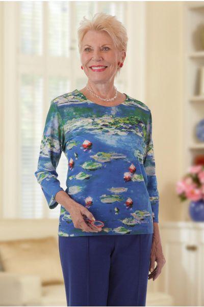 Monet Print Pullover Top