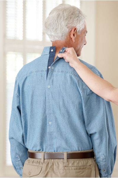 Long Sleeve Snap Back Denim Shirt