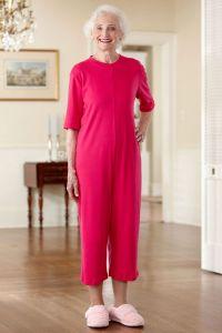 Capri Length Solid Back-Zip Sleep Suit