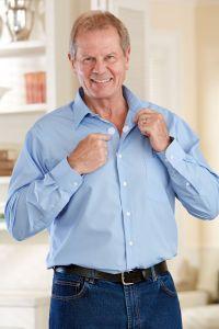 Long Sleeve Dress Shirt w/ VELCRO® Brand Fasteners (Open Collar)