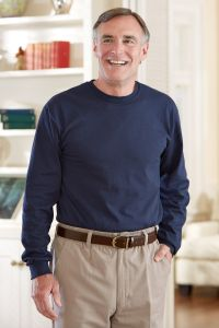Men's Long Sleeve Solid Snap Back T-Shirt