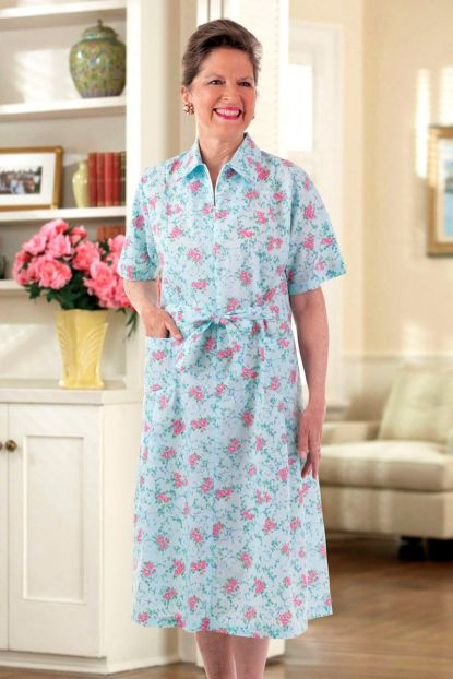 Short Sleeve Cotton/Poly House Dress