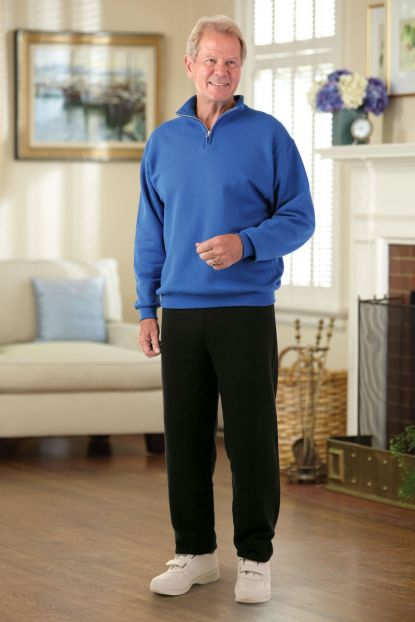 Men's Quarter Zip Sweat Set w/ Black Pant