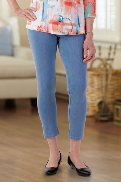 Cotton Slub Crop Legging Pants