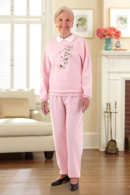 Womens Large Size Printed Sweatsuit w/Collar (2X & 3X)