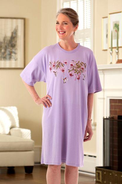 Wrap Back Printed Knit Nightshirt