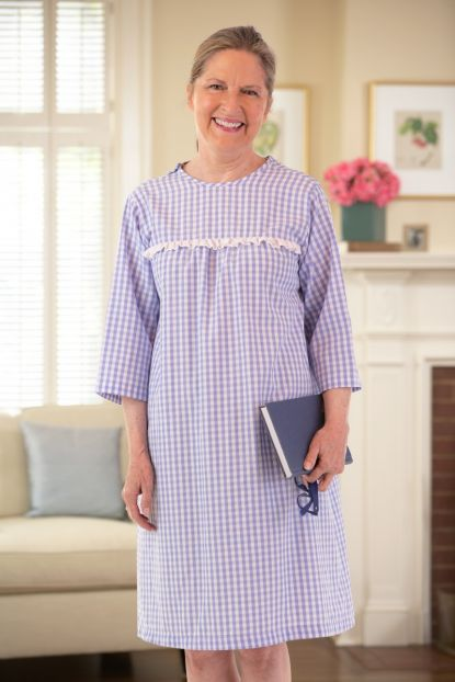 Gingham Open Back Nightgown