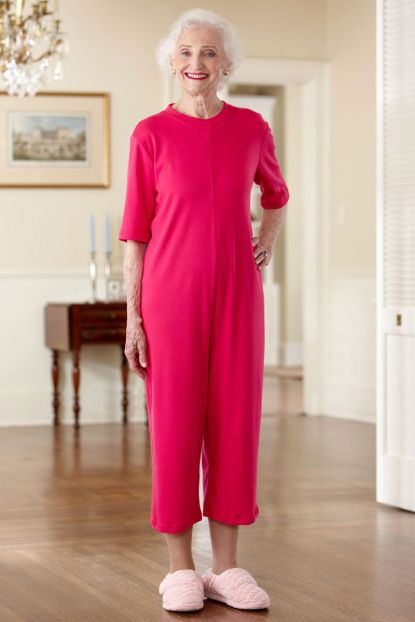 Capri Length Solid Back-Zip Sleep Suit