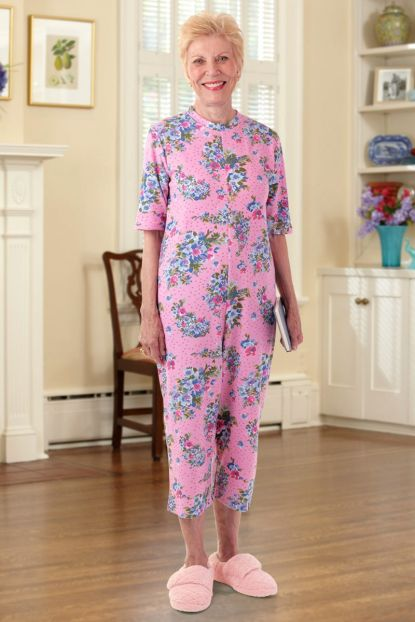 Capri Length Printed Back-Zip Sleeper Suit