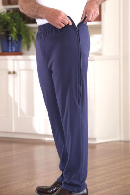 Side-Zip Light-Weight Knit Pants