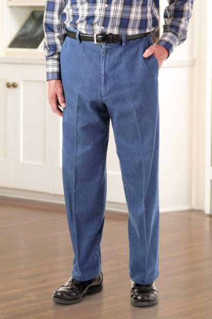 Men's Denim Slacks with VELCRO® Brand fasteners Fly