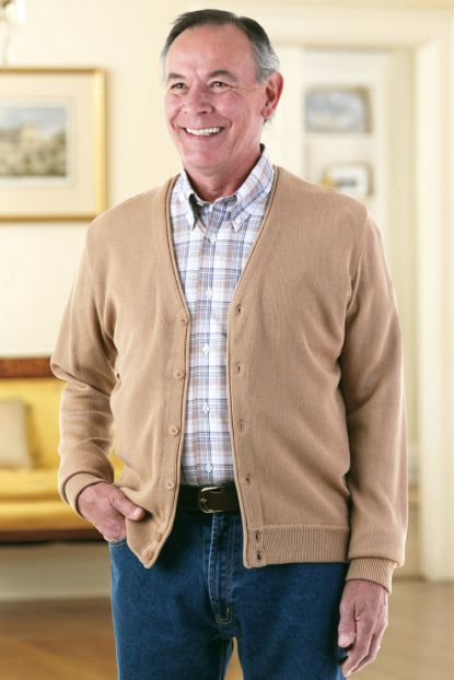 Men's Link Stitch Cardigan (2X Only)