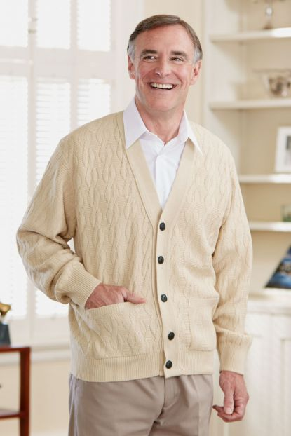 Men's Cable Cardigan w/Pockets-15% Off (M & 2X Only)