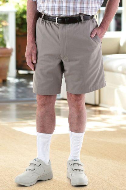 Men's Elastic Waist Zip-Fly Shorts