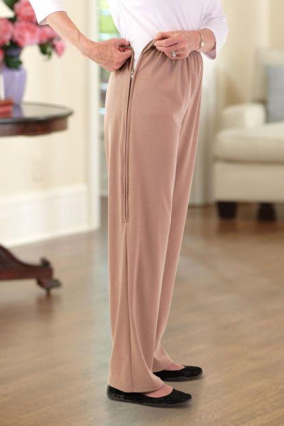 Double Knit Side-Zip Pants