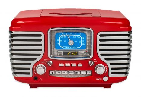 Crosley Retro AM/FM Dual Alarm Clock Radio with CD Player and Bluetooth