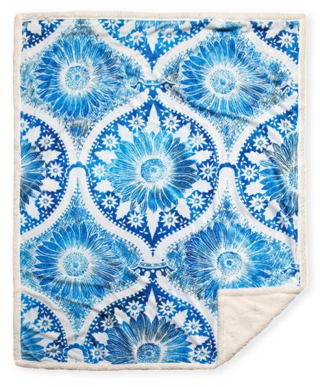 Blue and White Sherpa Throw