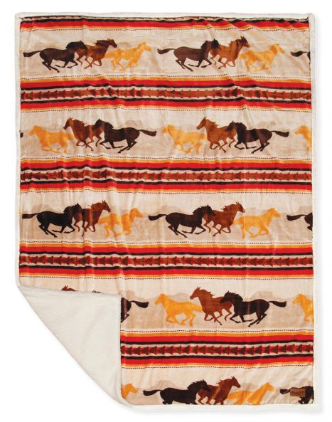 Running Horses Sherpa Throw