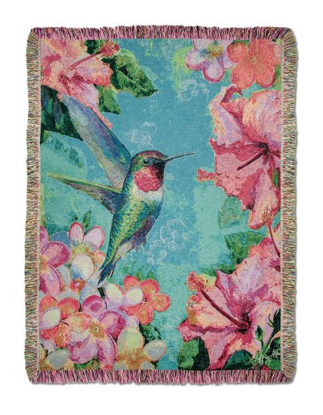 Hummingbird Hibiscus Throw