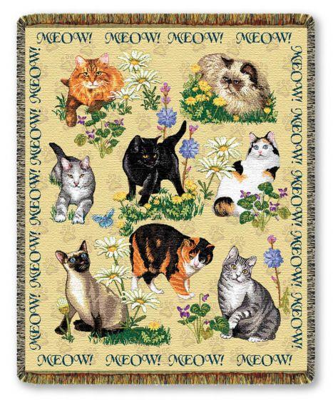 Meow Woven Throw